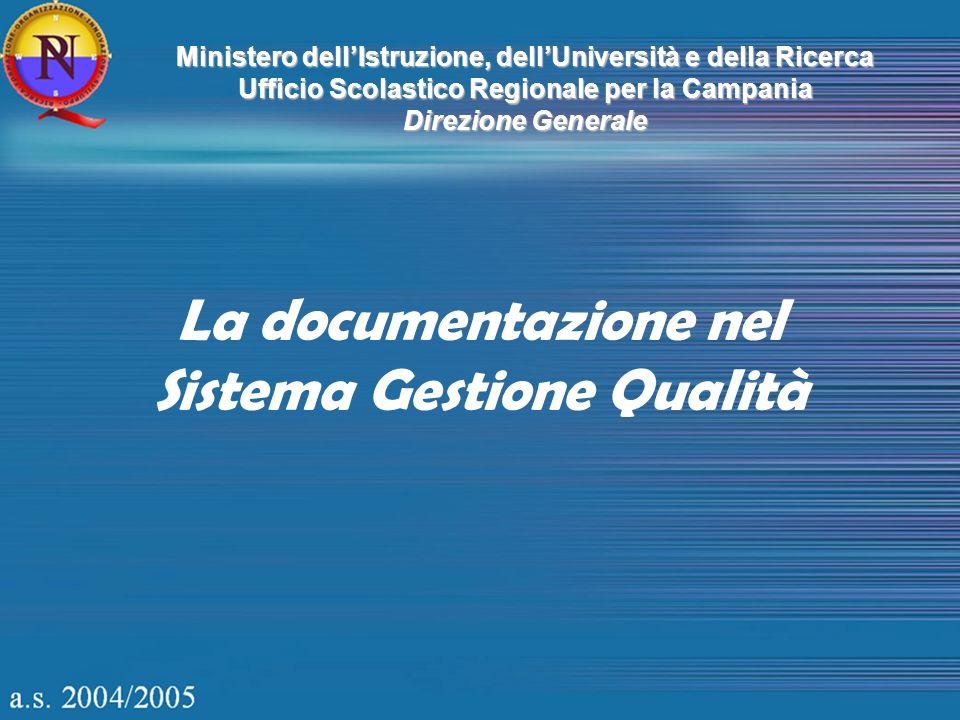 La documentazione nel Sistema Gestione Qualità Ministero dellIstruzione, dellUniversità e della Ricerca Ufficio Scolastico Regionale per la Campania D
