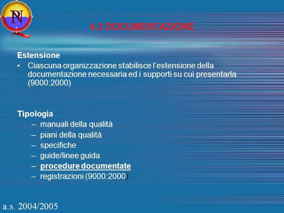 4.2 DOCUMENTAZIONE Estensione Ciascuna organizzazione stabilisce lestensione della documentazione necessaria ed i supporti su cui presentarla (9000:20
