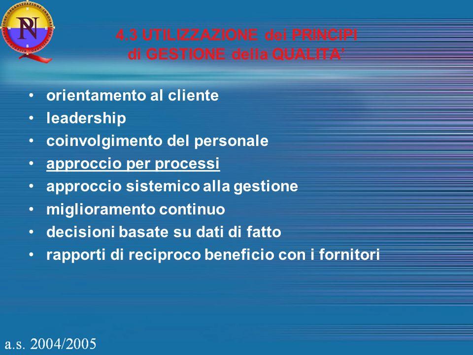 4.3 UTILIZZAZIONE dei PRINCIPI di GESTIONE della QUALITA orientamento al cliente leadership coinvolgimento del personale approccio per processi approc