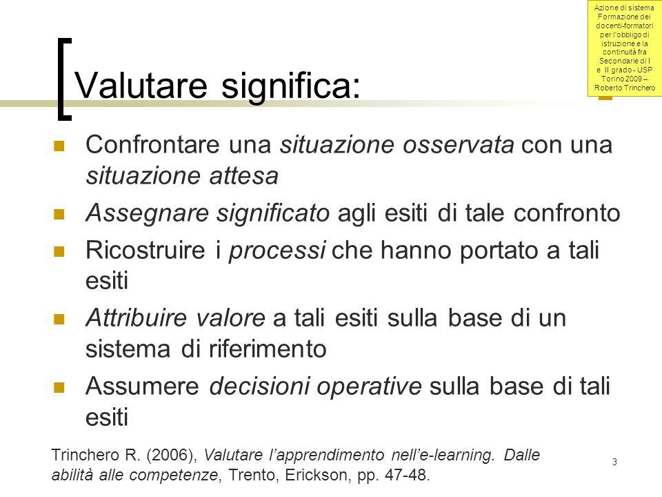 Azione di sistema Formazione dei docenti-formatori per l obbligo di istruzione e la continuità fra Secondarie di I e II grado - USP Torino 2009 – Roberto Trinchero 14 Rilevazione e valutazione.