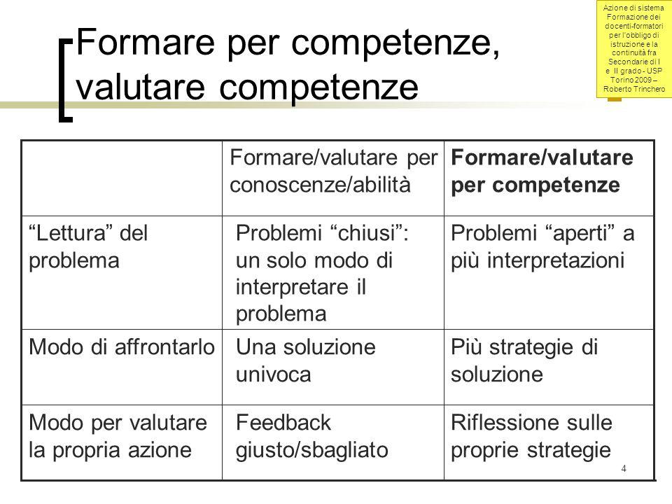 Azione di sistema Formazione dei docenti-formatori per l obbligo di istruzione e la continuità fra Secondarie di I e II grado - USP Torino 2009 – Roberto Trinchero 45
