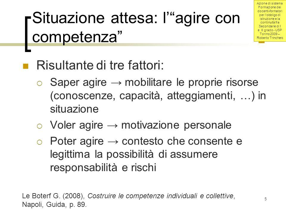 Azione di sistema Formazione dei docenti-formatori per l obbligo di istruzione e la continuità fra Secondarie di I e II grado - USP Torino 2009 – Roberto Trinchero 6 Cosè una competenza.
