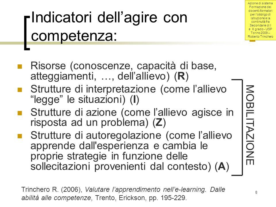 Azione di sistema Formazione dei docenti-formatori per l obbligo di istruzione e la continuità fra Secondarie di I e II grado - USP Torino 2009 – Roberto Trinchero 39