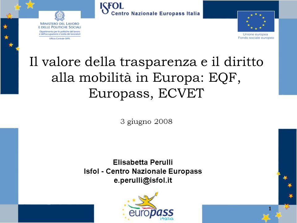 1 Il valore della trasparenza e il diritto alla mobilità in Europa: EQF, Europass, ECVET 3 giugno 2008 Elisabetta Perulli Isfol - Centro Nazionale Europass e.perulli@isfol.it