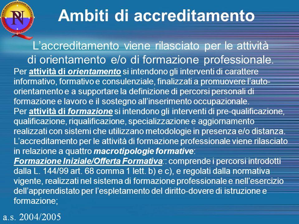Ambiti di accreditamento Laccreditamento viene rilasciato per le attività di orientamento e/o di formazione professionale.