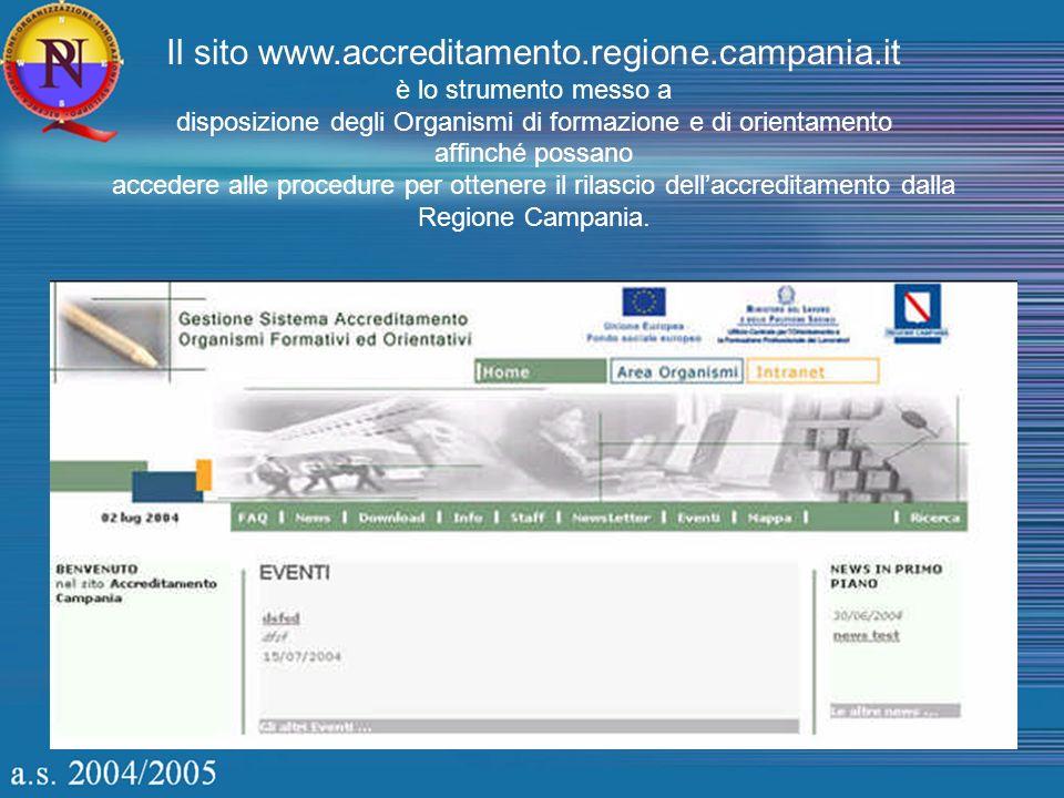 Il sito www.accreditamento.regione.campania.it è lo strumento messo a disposizione degli Organismi di formazione e di orientamento affinché possano accedere alle procedure per ottenere il rilascio dellaccreditamento dalla Regione Campania.