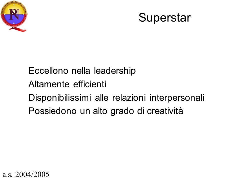 Superstar Eccellono nella leadership Altamente efficienti Disponibilissimi alle relazioni interpersonali Possiedono un alto grado di creatività a.s.