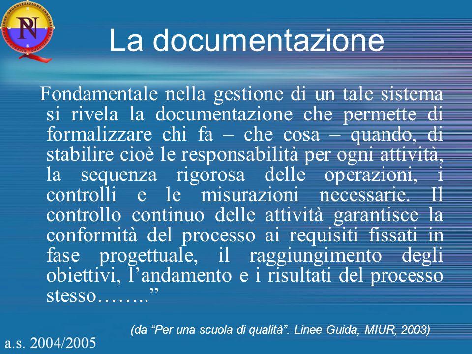 La documentazione Fondamentale nella gestione di un tale sistema si rivela la documentazione che permette di formalizzare chi fa – che cosa – quando,