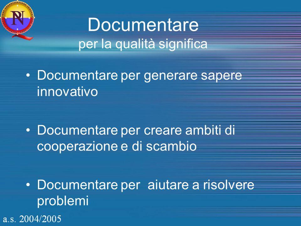 Documentare per la qualità significa Documentare per generare sapere innovativo Documentare per creare ambiti di cooperazione e di scambio Documentare per aiutare a risolvere problemi