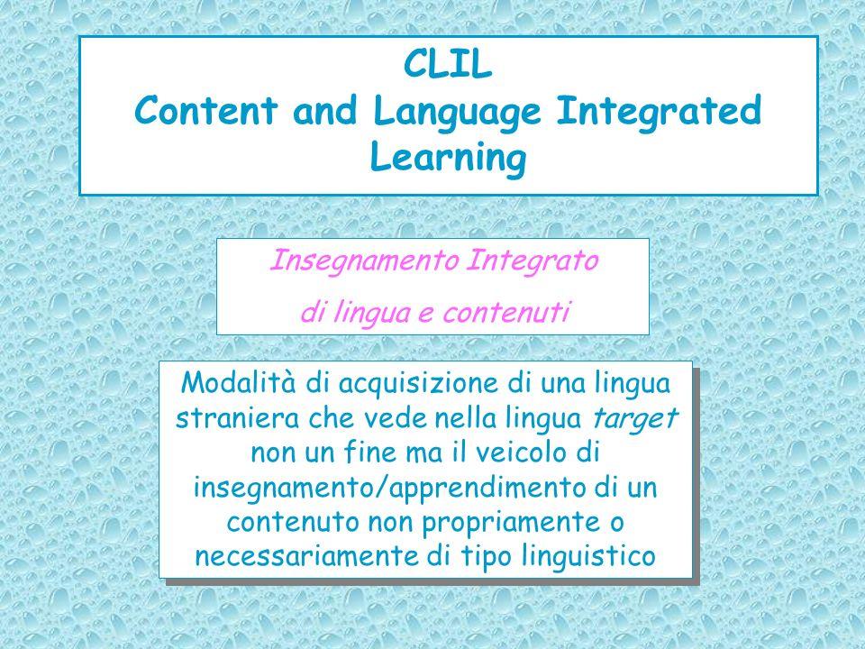 CLIL Content and Language Integrated Learning Insegnamento Integrato di lingua e contenuti Modalità di acquisizione di una lingua straniera che vede n