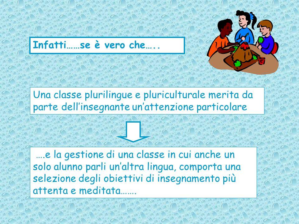 Infatti……se è vero che….. Una classe plurilingue e pluriculturale merita da parte dellinsegnante unattenzione particolare ….e la gestione di una class