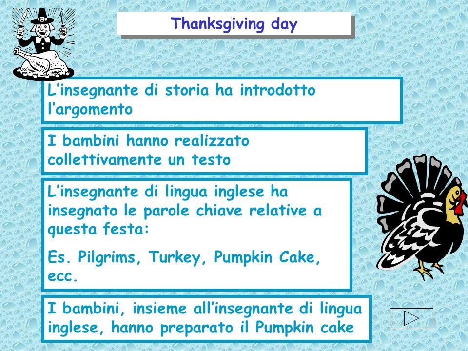 Thanksgiving day Linsegnante di storia ha introdotto largomento I bambini hanno realizzato collettivamente un testo Linsegnante di lingua inglese ha i