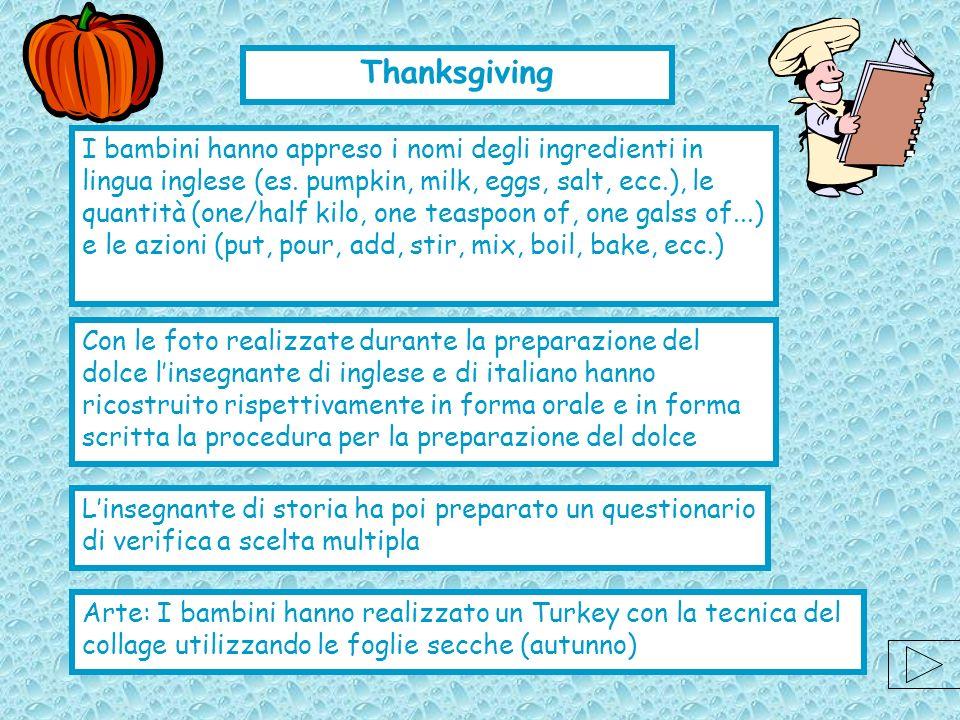 I bambini hanno appreso i nomi degli ingredienti in lingua inglese (es. pumpkin, milk, eggs, salt, ecc.), le quantità (one/half kilo, one teaspoon of,