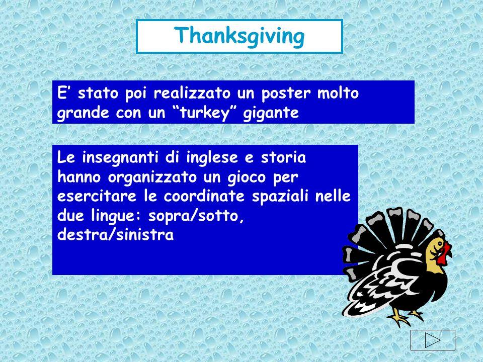 E stato poi realizzato un poster molto grande con un turkey gigante Le insegnanti di inglese e storia hanno organizzato un gioco per esercitare le coo