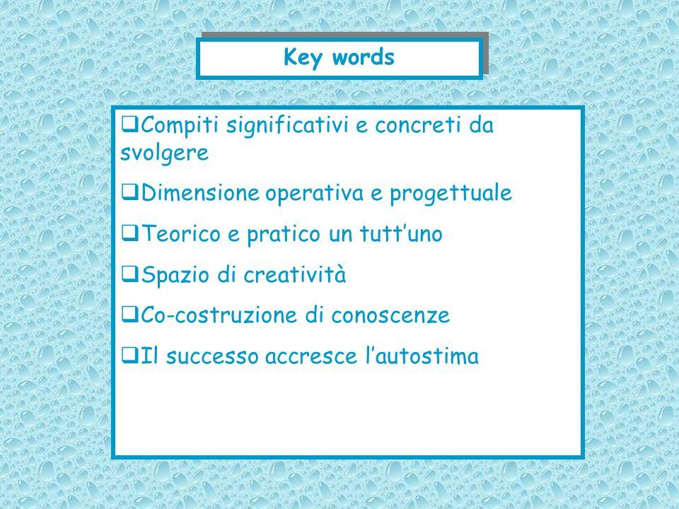 Key words Compiti significativi e concreti da svolgere Dimensione operativa e progettuale Teorico e pratico un tuttuno Spazio di creatività Co-costruz