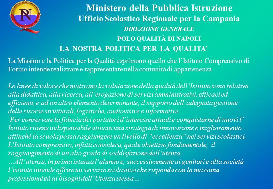 Ministero della Pubblica Istruzione Ufficio Scolastico Regionale per la Campania DIREZIONE GENERALE POLO QUALITÀ DI NAPOLI LA NOSTRA POLITICA PER LA Q