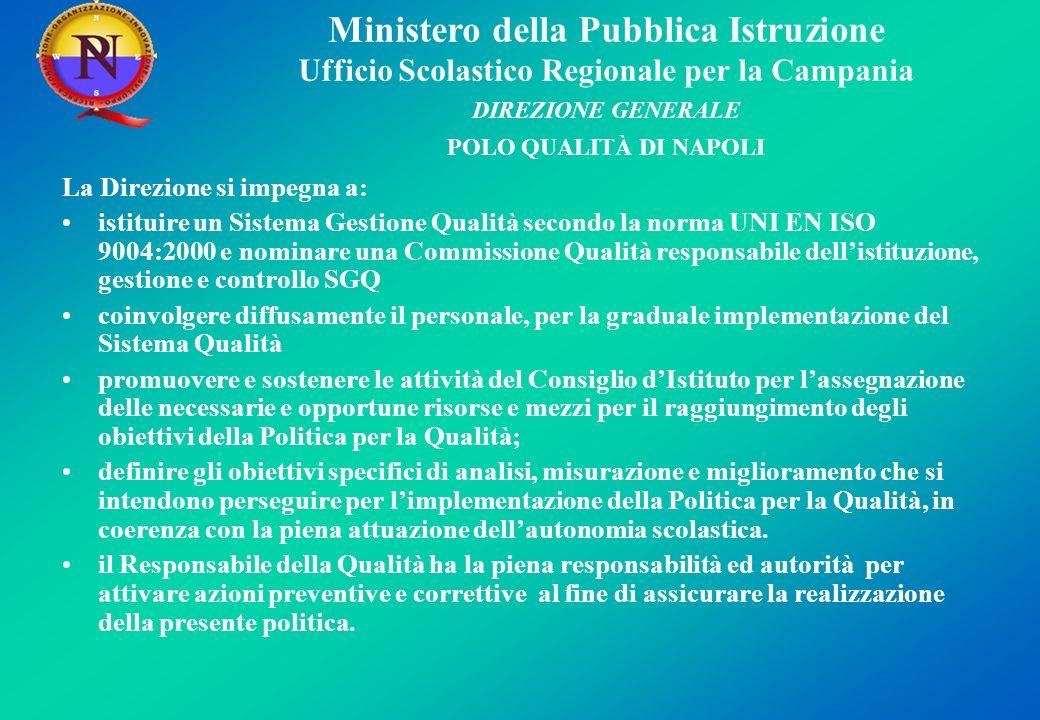 Ministero della Pubblica Istruzione Ufficio Scolastico Regionale per la Campania DIREZIONE GENERALE POLO QUALITÀ DI NAPOLI La Direzione si impegna a: