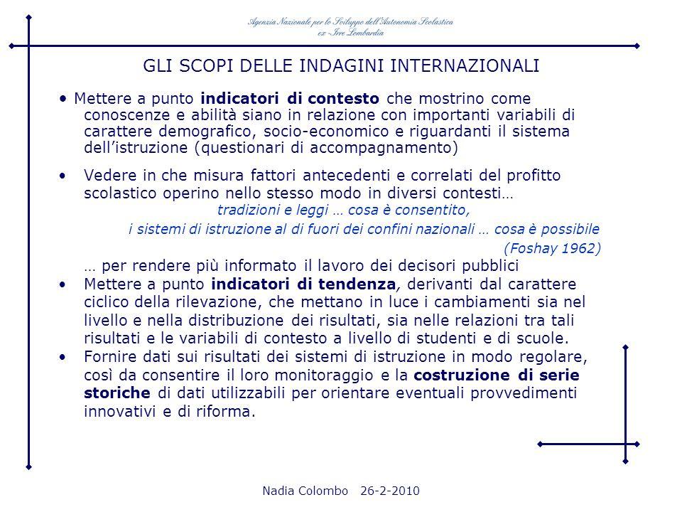 Nadia Colombo 26-2-2010 Mettere a punto indicatori di contesto che mostrino come conoscenze e abilità siano in relazione con importanti variabili di c