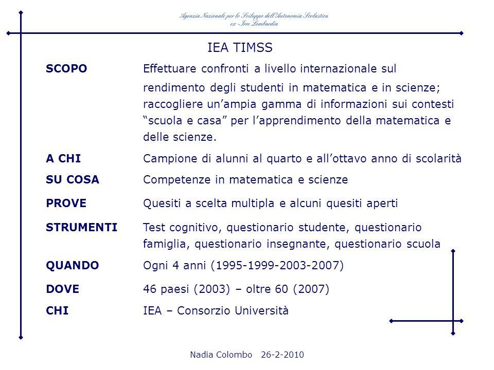 Nadia Colombo 26-2-2010 IEA TIMSS SCOPO Effettuare confronti a livello internazionale sul rendimento degli studenti in matematica e in scienze; raccog