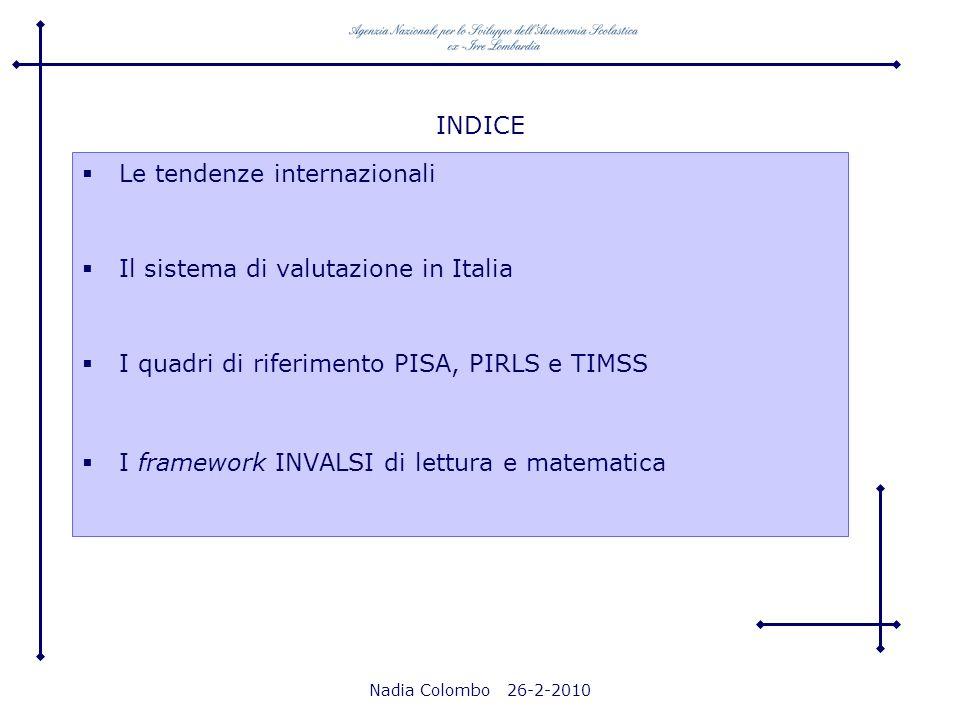Nadia Colombo 26-2-2010 INDICE Le tendenze internazionali Il sistema di valutazione in Italia I quadri di riferimento PISA, PIRLS e TIMSS I framework