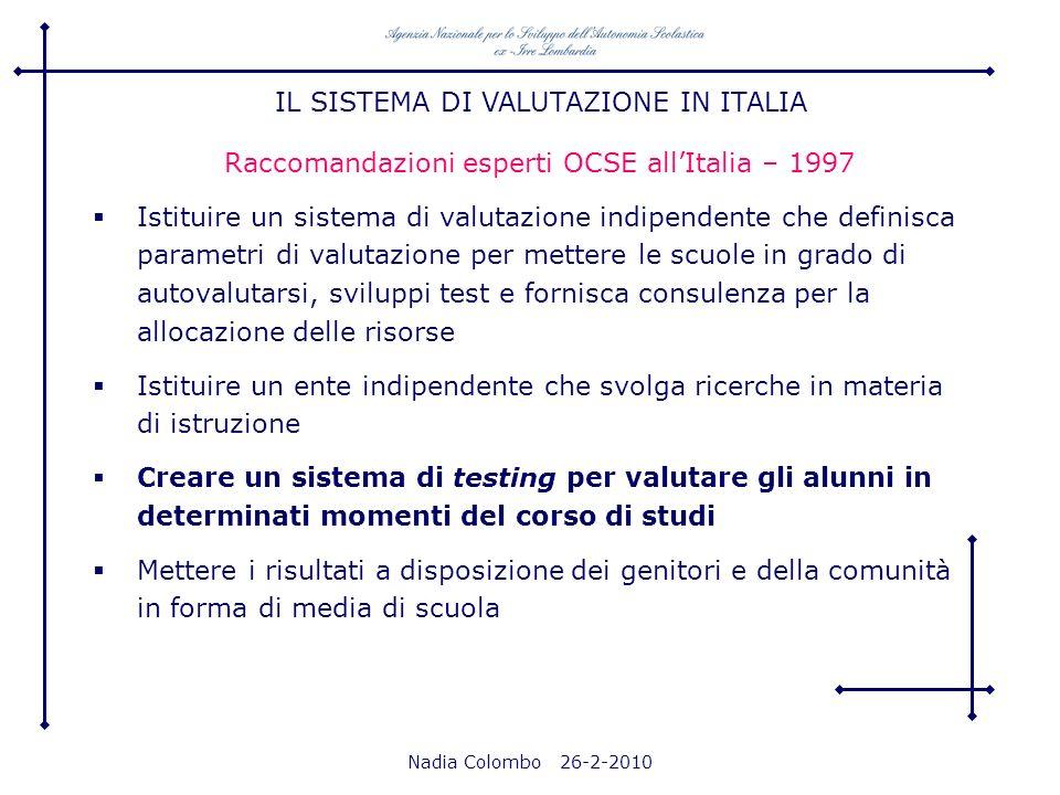 Nadia Colombo 26-2-2010 Raccomandazioni esperti OCSE allItalia – 1997 Istituire un sistema di valutazione indipendente che definisca parametri di valu