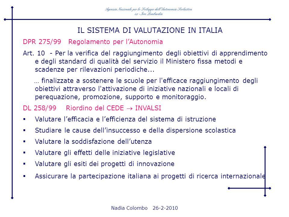 Nadia Colombo 26-2-2010 DPR 275/99 Regolamento per lAutonomia Art. 10 - Per la verifica del raggiungimento degli obiettivi di apprendimento e degli st