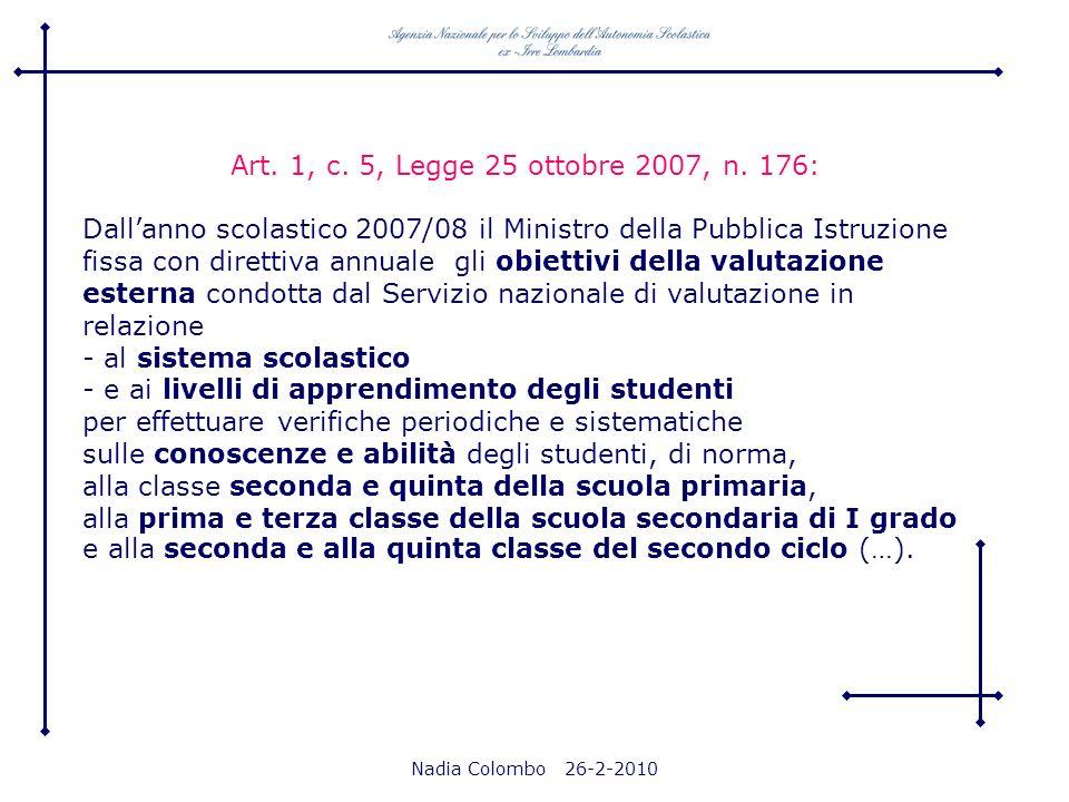 Nadia Colombo 26-2-2010 Art. 1, c. 5, Legge 25 ottobre 2007, n. 176: Dallanno scolastico 2007/08 il Ministro della Pubblica Istruzione fissa con diret