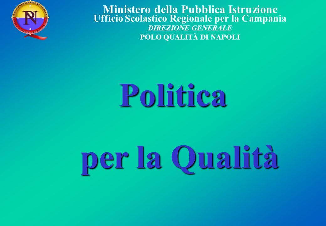 Ministero della Pubblica Istruzione Ufficio Scolastico Regionale per la Campania DIREZIONE GENERALE POLO QUALITÀ DI NAPOLI Politica Politica per la Qu