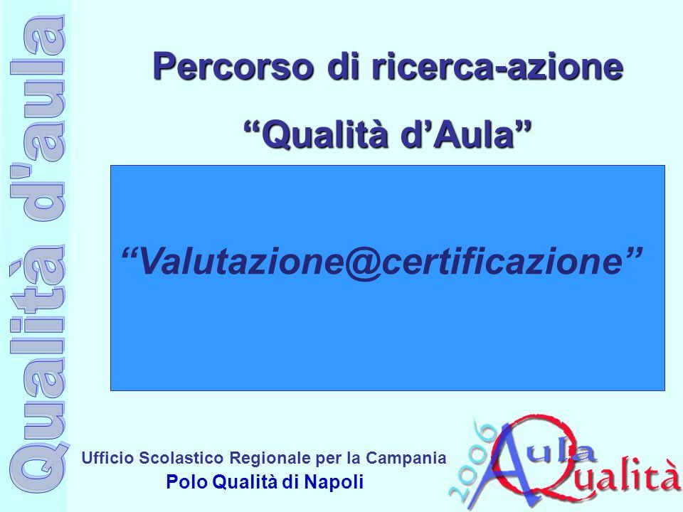 Ufficio Scolastico Regionale per la Campania Polo Qualità di Napoli Percorso di ricerca-azione Qualità dAula Valutazione@certificazione