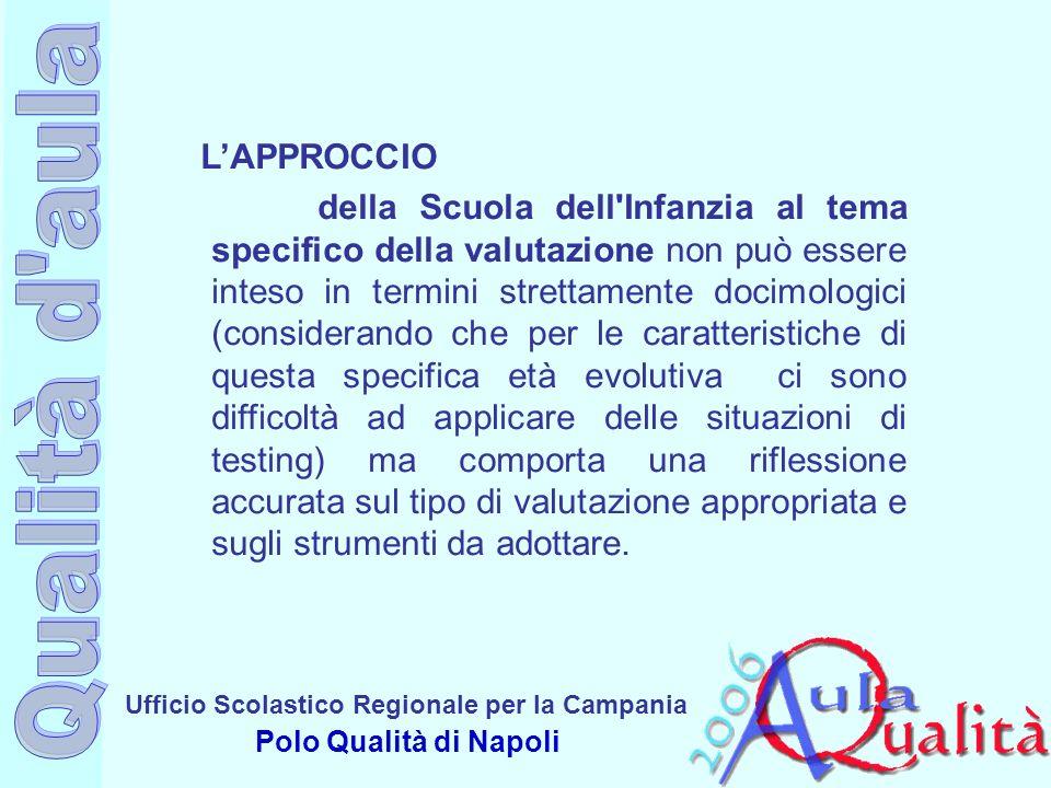 Ufficio Scolastico Regionale per la Campania Polo Qualità di Napoli LAPPROCCIO della Scuola dell'Infanzia al tema specifico della valutazione non può