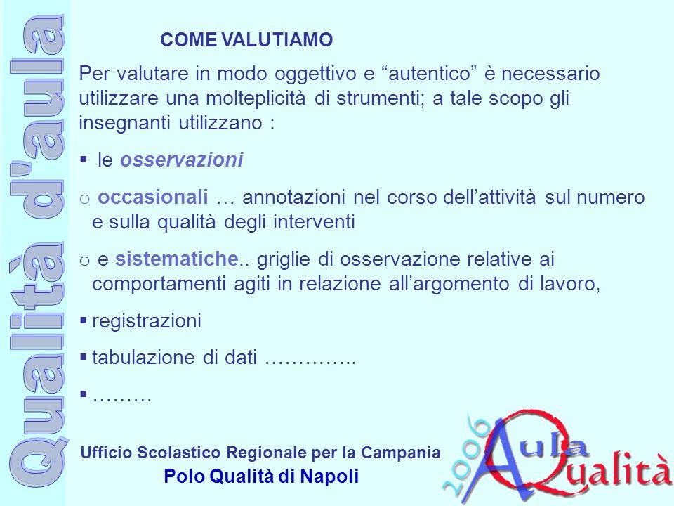 Ufficio Scolastico Regionale per la Campania Polo Qualità di Napoli Per valutare in modo oggettivo e autentico è necessario utilizzare una molteplicit