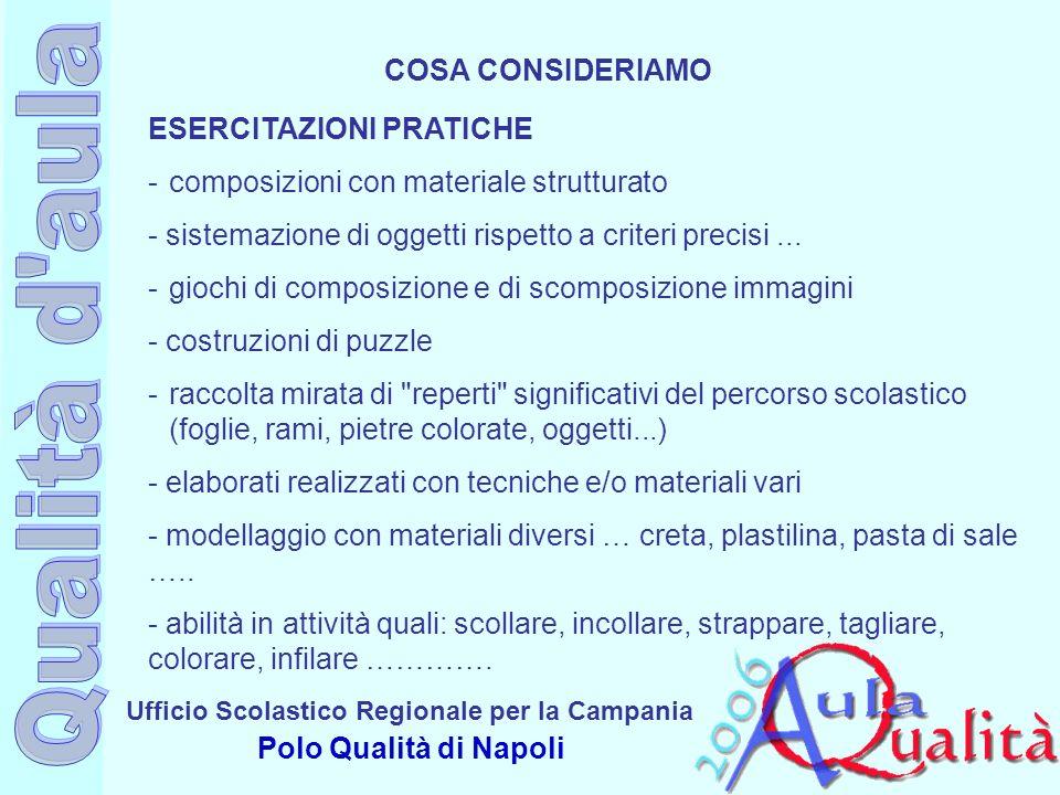 Ufficio Scolastico Regionale per la Campania Polo Qualità di Napoli ESERCITAZIONI PRATICHE -composizioni con materiale strutturato - sistemazione di o