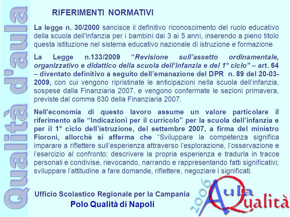 Ufficio Scolastico Regionale per la Campania Polo Qualità di Napoli La legge n. 30/2000 sancisce il definitivo riconoscimento del ruolo educativo dell