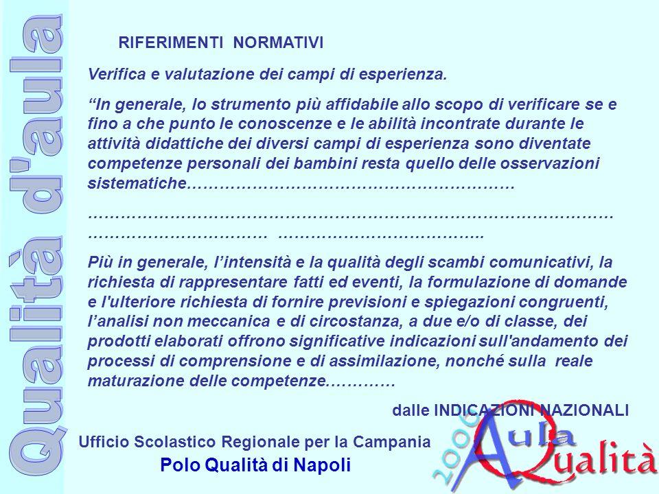 Ufficio Scolastico Regionale per la Campania Polo Qualità di Napoli Verifica e valutazione dei campi di esperienza. In generale, lo strumento più affi