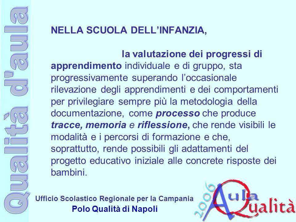 Ufficio Scolastico Regionale per la Campania Polo Qualità di Napoli NELLA SCUOLA DELLINFANZIA, la valutazione dei progressi di apprendimento individua