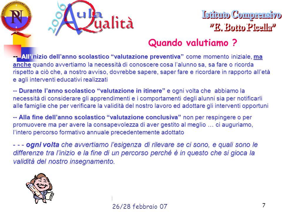 Liceo Scientifico G. da Procida Salerno, 23 febbraio 20077 Quando valutiamo .