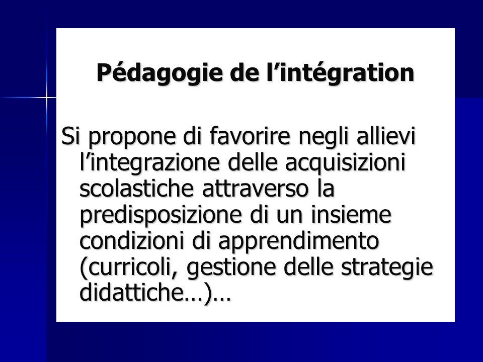 Pédagogie de lintégration Si propone di favorire negli allievi lintegrazione delle acquisizioni scolastiche attraverso la predisposizione di un insiem