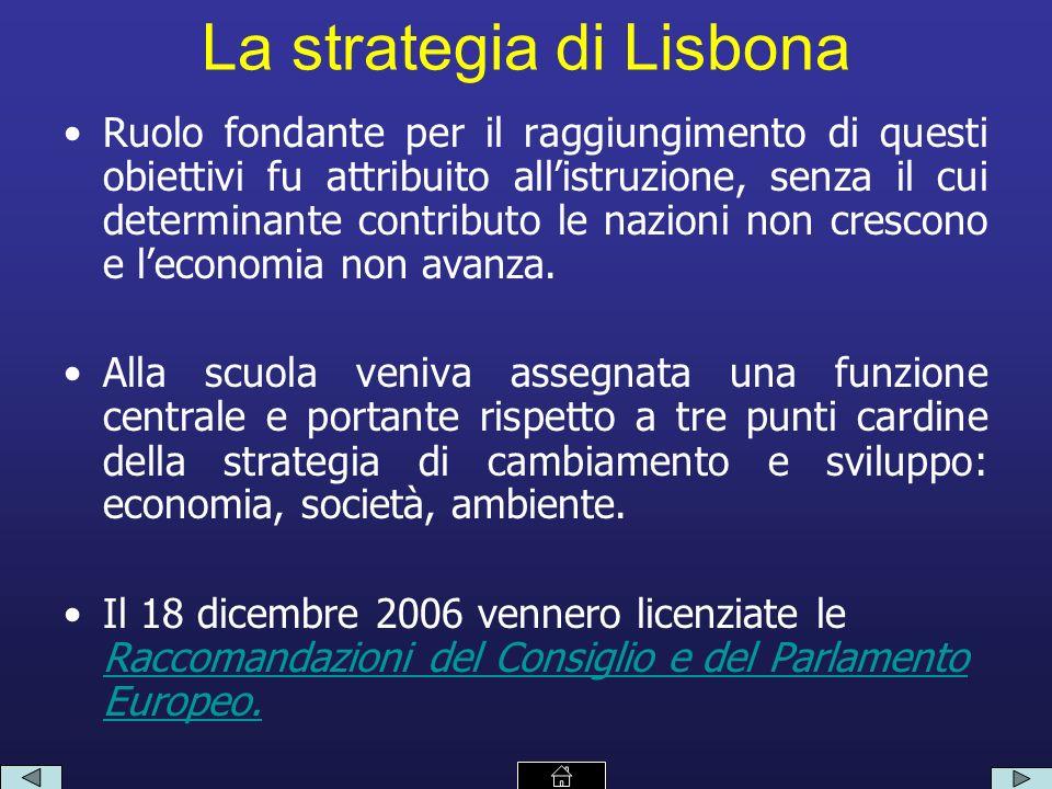 La strategia di Lisbona Ruolo fondante per il raggiungimento di questi obiettivi fu attribuito allistruzione, senza il cui determinante contributo le nazioni non crescono e leconomia non avanza.