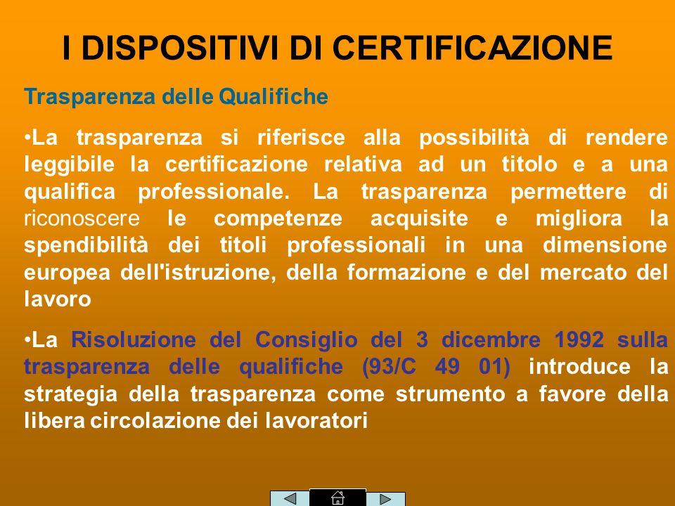 Trasparenza delle Qualifiche La trasparenza si riferisce alla possibilità di rendere leggibile la certificazione relativa ad un titolo e a una qualifica professionale.