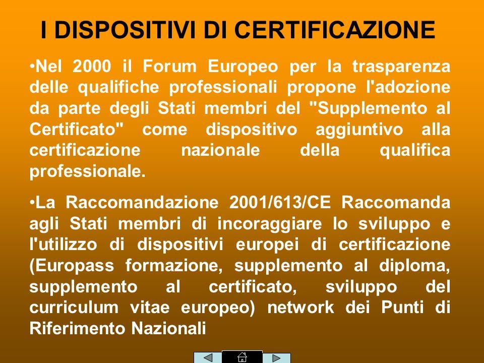 Nel 2000 il Forum Europeo per la trasparenza delle qualifiche professionali propone l adozione da parte degli Stati membri del Supplemento al Certificato come dispositivo aggiuntivo alla certificazione nazionale della qualifica professionale.