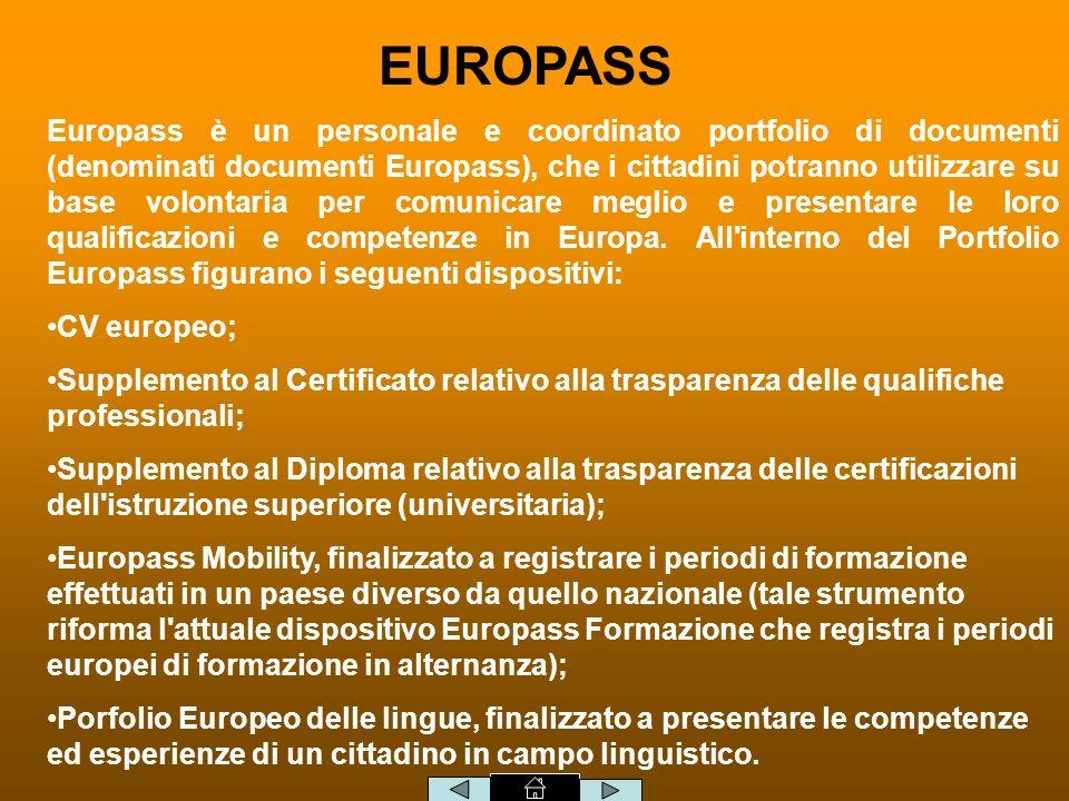 EUROPASS Europass è un personale e coordinato portfolio di documenti (denominati documenti Europass), che i cittadini potranno utilizzare su base volontaria per comunicare meglio e presentare le loro qualificazioni e competenze in Europa.
