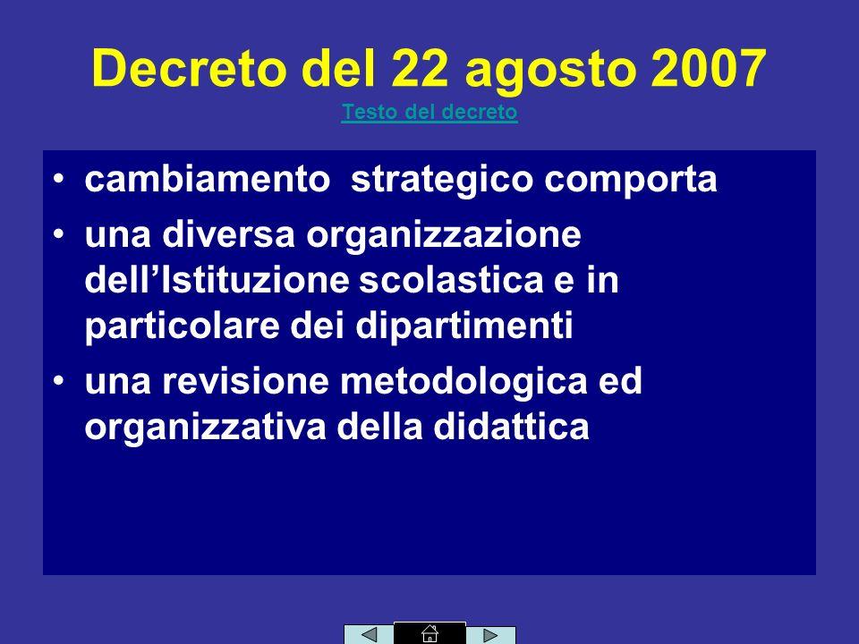 Decreto del 22 agosto 2007 Testo del decreto Testo del decreto cambiamento strategico comporta una diversa organizzazione dellIstituzione scolastica e in particolare dei dipartimenti una revisione metodologica ed organizzativa della didattica