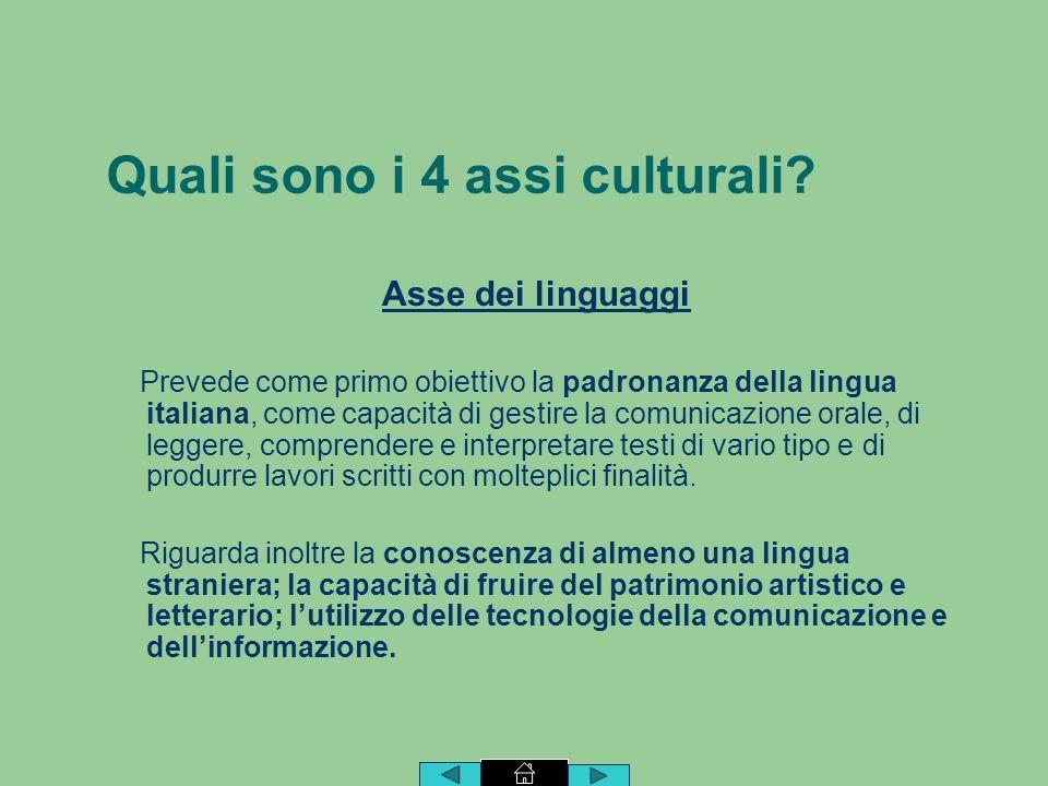 Quali sono i 4 assi culturali.