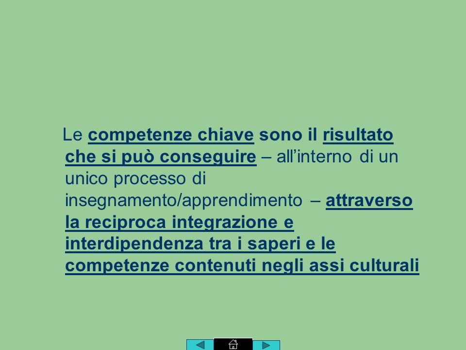 Le competenze chiave sono il risultato che si può conseguire – allinterno di un unico processo di insegnamento/apprendimento – attraverso la reciproca integrazione e interdipendenza tra i saperi e le competenze contenuti negli assi culturali