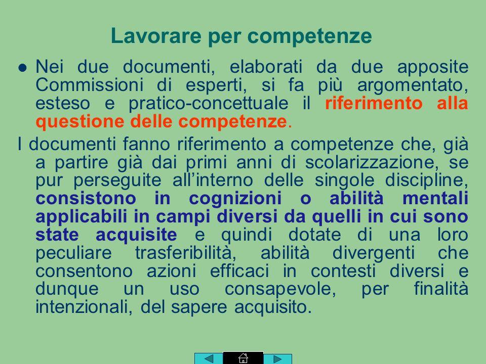 Nei due documenti, elaborati da due apposite Commissioni di esperti, si fa più argomentato, esteso e pratico-concettuale il riferimento alla questione delle competenze.