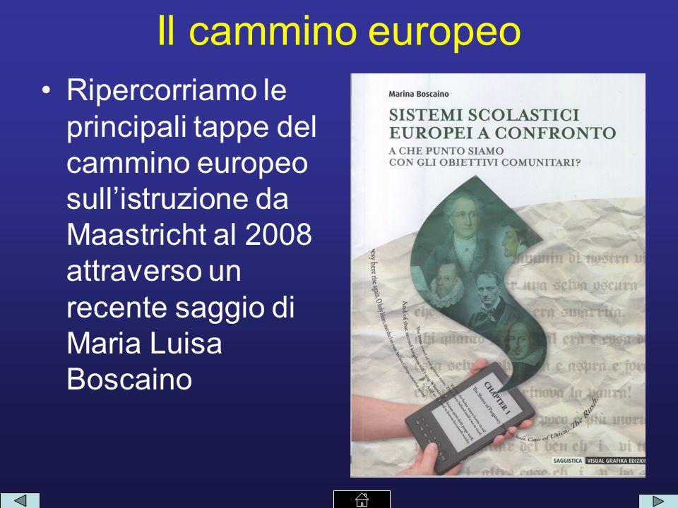 Il cammino europeo Ripercorriamo le principali tappe del cammino europeo sullistruzione da Maastricht al 2008 attraverso un recente saggio di Maria Luisa Boscaino