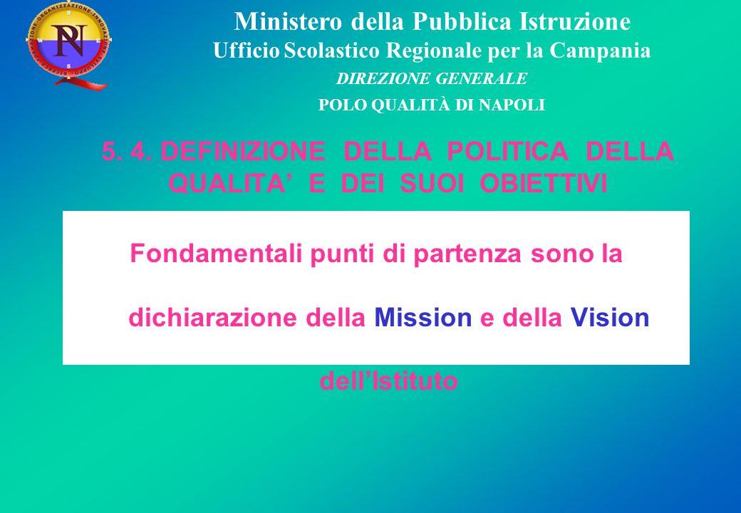 Ministero della Pubblica Istruzione Ufficio Scolastico Regionale per la Campania DIREZIONE GENERALE POLO QUALITÀ DI NAPOLI MISSION 1.