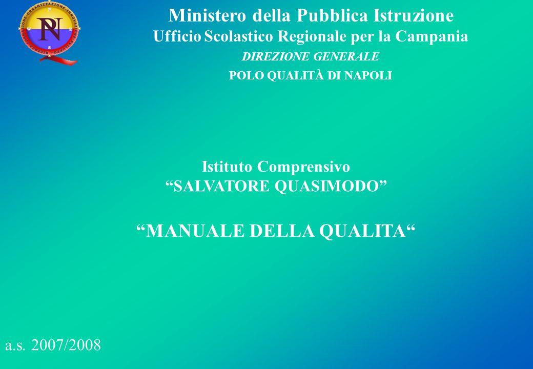 Ministero della Pubblica Istruzione Ufficio Scolastico Regionale per la Campania DIREZIONE GENERALE POLO QUALITÀ DI NAPOLI Obiettivi prioritari per la politica della qualità.