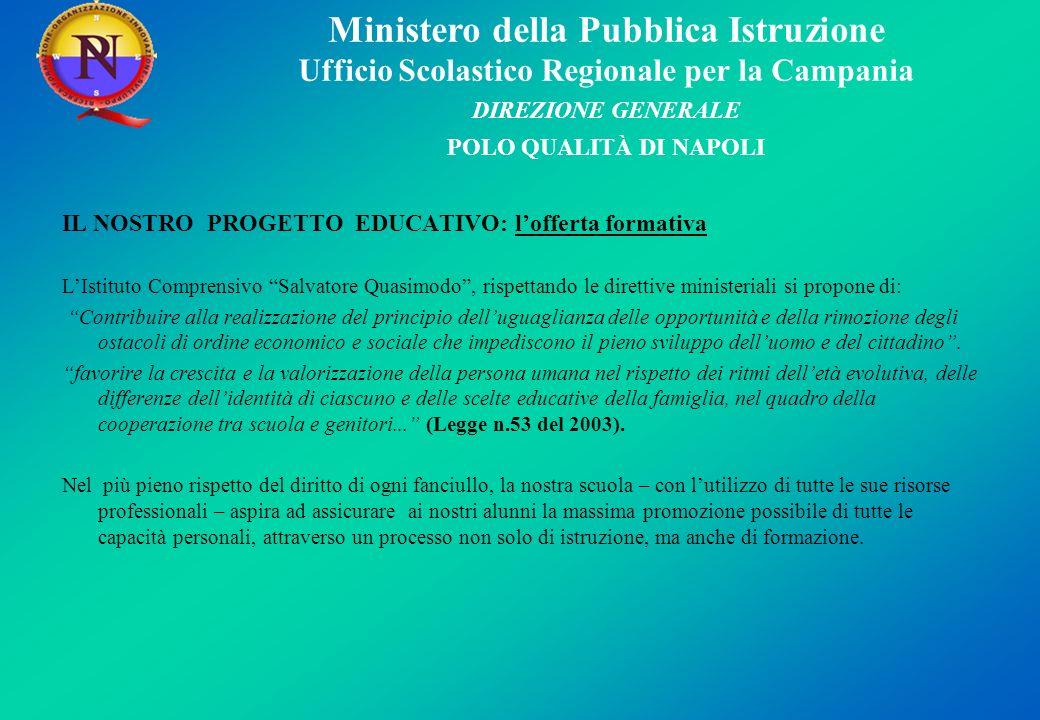 Ministero della Pubblica Istruzione Ufficio Scolastico Regionale per la Campania DIREZIONE GENERALE POLO QUALITÀ DI NAPOLI IL NOSTRO PROGETTO EDUCATIV
