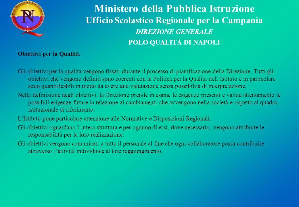 Ministero della Pubblica Istruzione Ufficio Scolastico Regionale per la Campania DIREZIONE GENERALE POLO QUALITÀ DI NAPOLI Obiettivi per la Qualità. G